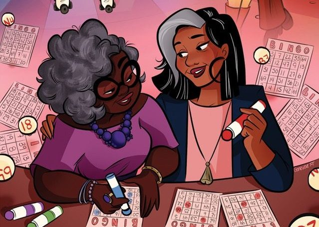 Closeup of Bingo Love cover featuring the two main characters as older women playing Bingo