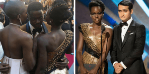 Two pictures featuring Daniel Kaluuya, Danai Gurira, Lupita Nyong'o, and Kumail Nanjiani