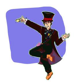 Fan art of Benedict Cumberbatch dressed as the Mad Hatter posing amid a purple background
