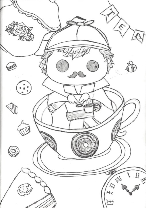 Fan art of Benedict Cumberbatch as a 1800s-era Sherlock rag doll, sitting in a tea cup and saucer amid a background of cookies, cupcakes, and pie.