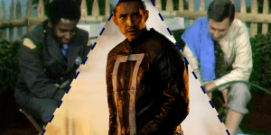 A graphic featuring Officer Clemmons, Gabriel Luna as Ghost Rider, and Mr. Rogers.