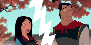 graphic of a picture of Mulan and Shang tearing apart