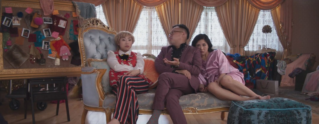 "Photo Credit: Courtesy of Warner Bros. Pictures Caption: (L-R) AWKWAFINA as Peik Lin, NICO SANTOS as Oliver and CONSTANCE WU as Rachel in Warner Bros. Pictures' and SK Global Entertainment's and Starlight Culture's contemporary romantic comedy ""CRAZY RICH ASIANS,"" a Warner Bros. Pictures release."