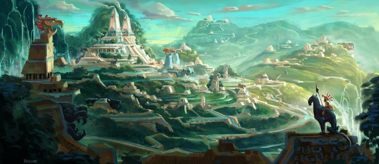 Concept art for Maya and the Three, featuring a verdant Mayan civilization.