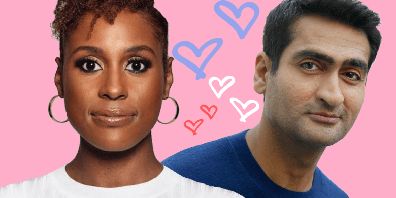 Illustration of Issa Rae wearing white and Kumail Nanjiani wearing blue. There's a pink background with white, hot pink and light blue hearts in between the two people.