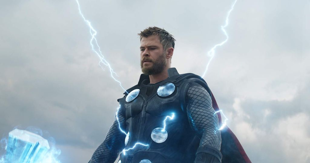 Thor stares down at his opponent as he channels lightning.