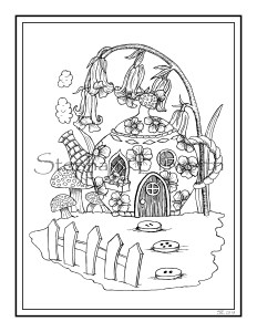 teapot cottage fairy house coloring page