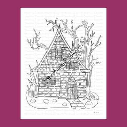 Brick and Shingle Fairy House Coloring Page
