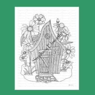 Fairy House with Wildflowers Coloring Page