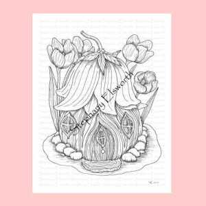 Fairy House with Flower Roof Coloring Page