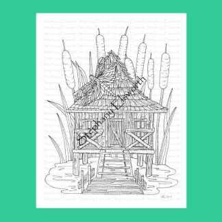 Fairy Swamp Shack Coloring Page