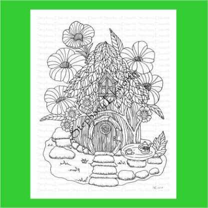 Leaf and Wood Cottage Fairy House Coloring Page