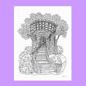 Medieval Tower Fairy House Coloring Page