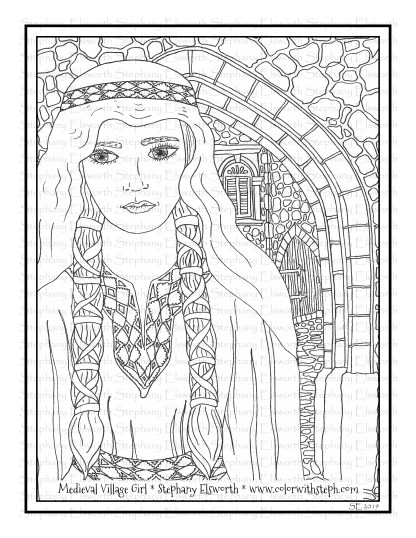 Medieval Village Girl Free Printable Coloring Page