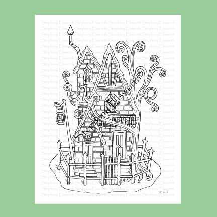 Slightly Haunted Fairy House Coloring Page