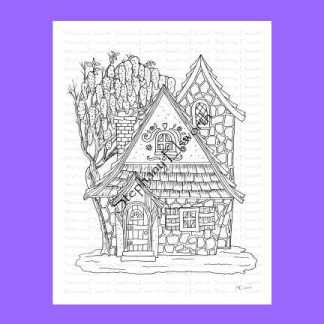 Wisteria Cottage Fairy House Coloring Page