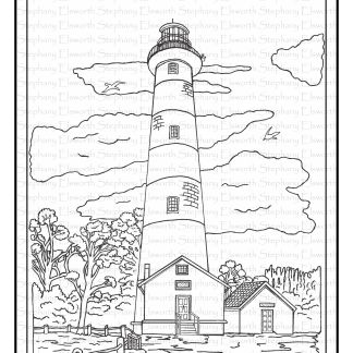 Assateague Island LIghthouse Free Printable Coloring Page