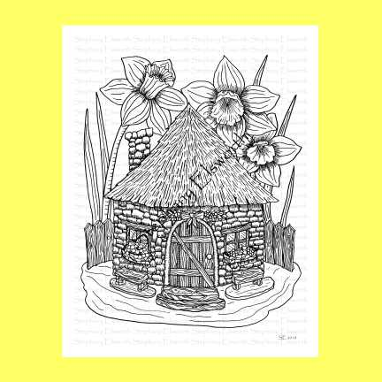 Fairy Cob House Coloring Page