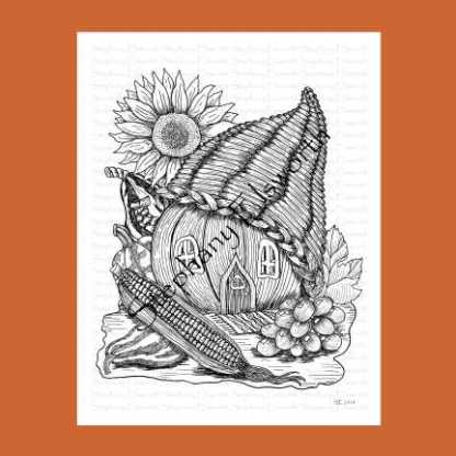 Cornucopia and Pumpkin Fairy House Coloring Page