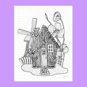 Fairy Cottage and Windmill Coloring Page