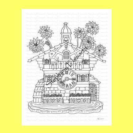 Cuckoo Clock Fairy House Coloring Page