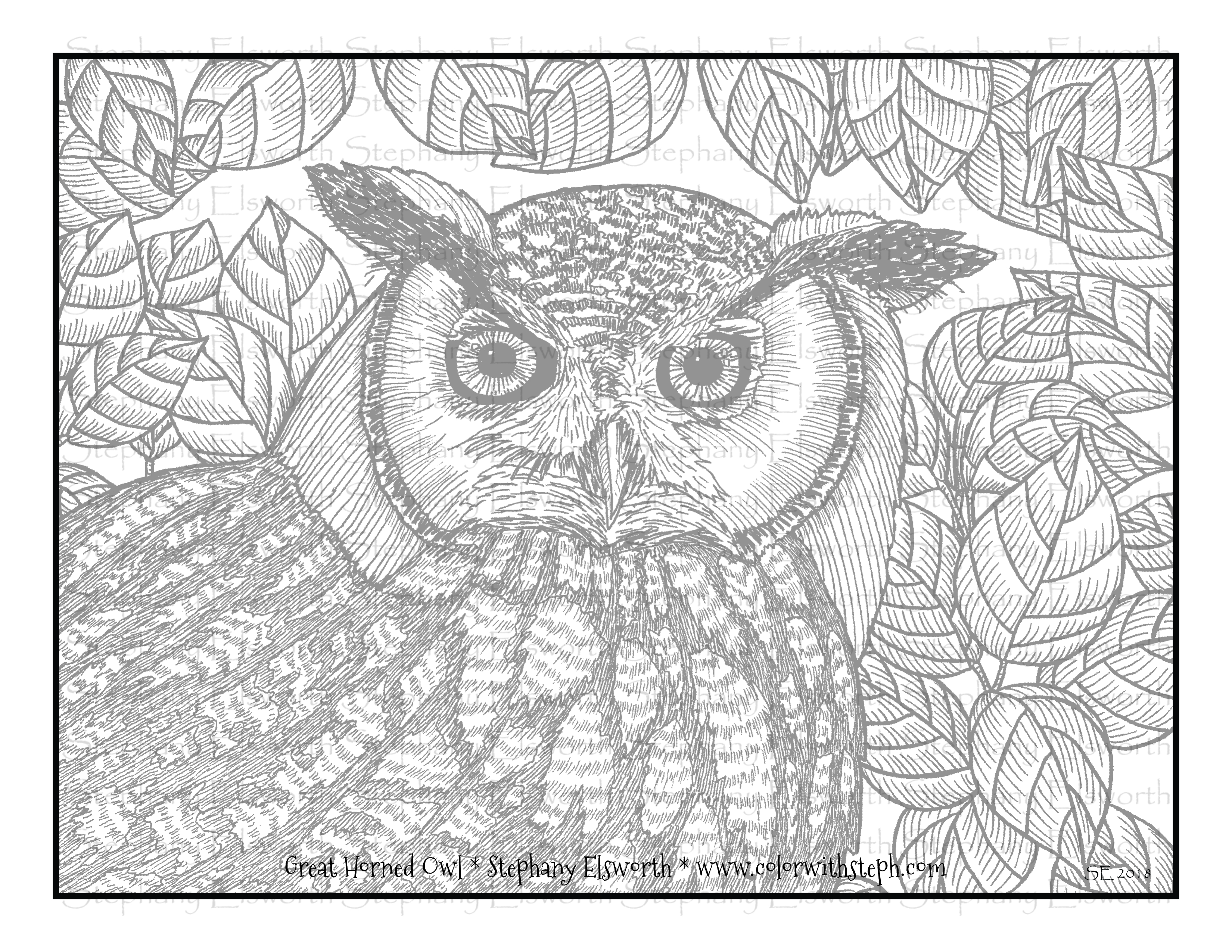 Great Horned Owl Free Printable Grayscale Coloring Page