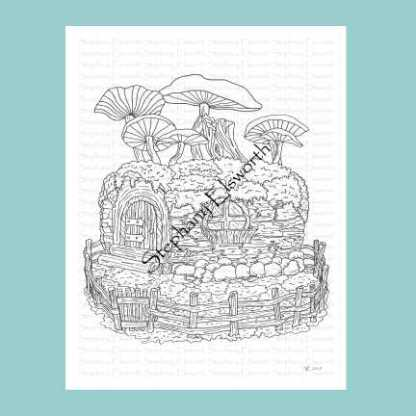 Log Fairy House Coloring Page