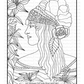 Art Nouveau Girl with Roses and Lilies