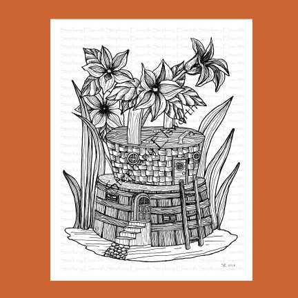 Planter and Basket Fairy House Coloring Page