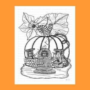 Pumpkin Fairy House Coloring Page