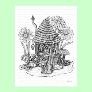 Stump Cottage Fairy House Coloring Page