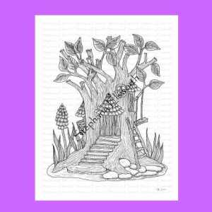 Tree Trunk Fairy House Coloring Page