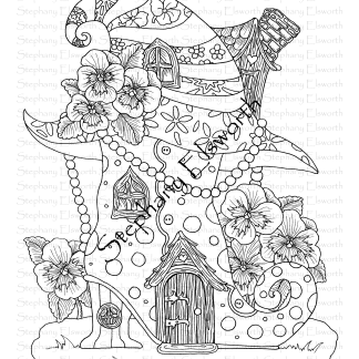 Boot and Witch Hat Fairy House Coloring Page