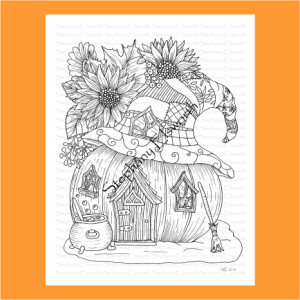 Fall Pumpkin Fairy House Coloring Page