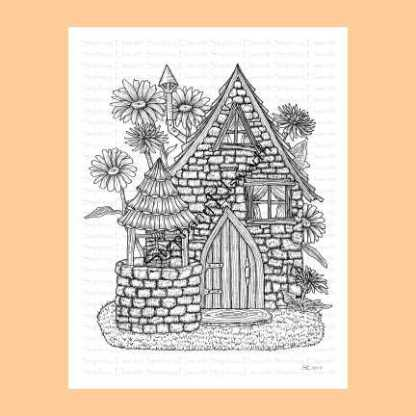 Saltbox and Wishing Well Fairy House Coloring Page