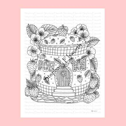 Strawberry Patch Fairy House Coloring Page