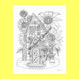Sunflower Fairy House Coloring Page