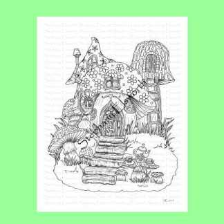 Teatime at Mushroom Cottage Coloring Page