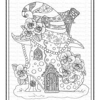 Fall Fairy Houses - Boot and Witch House Coloring Page