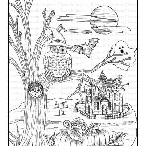Owl and Haunted House Free Coloring Page