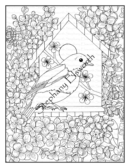 Bluebird and Lilac Coloring Page