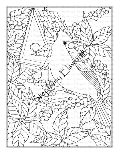 Cardinal and Bayberry Coloring Page
