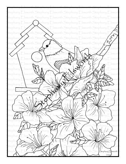 Goldfinch and Azalea Coloring Page