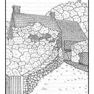English Cottage Free Coloring Page