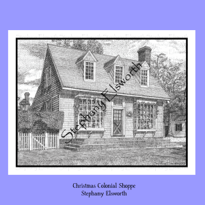 Christmas Colonial Shoppe Coloring Page