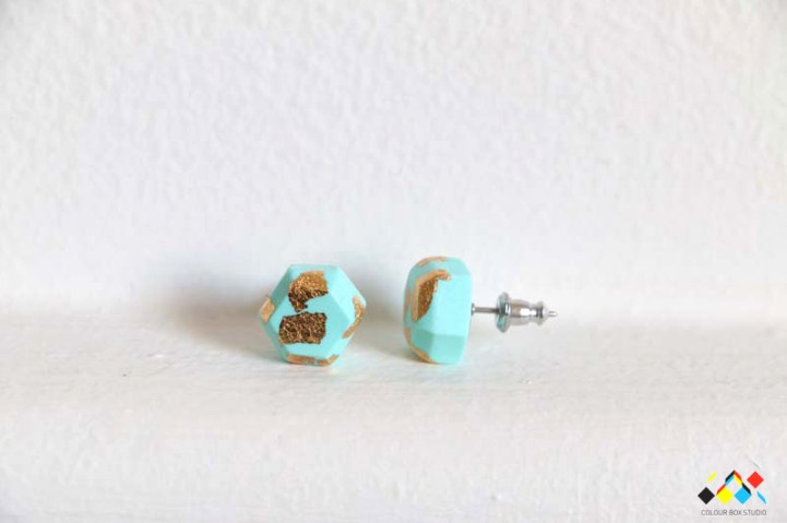 Aacute Earrings Mint Gold Leaf - Colour Box Studio Online Shop
