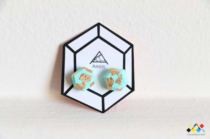 Aacute Earrings - Mint Gold Leaf