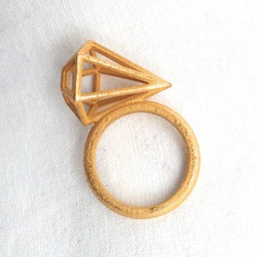 Studio Batch Diamond Cage Ring Gold Plate - Colour Box Studio Online