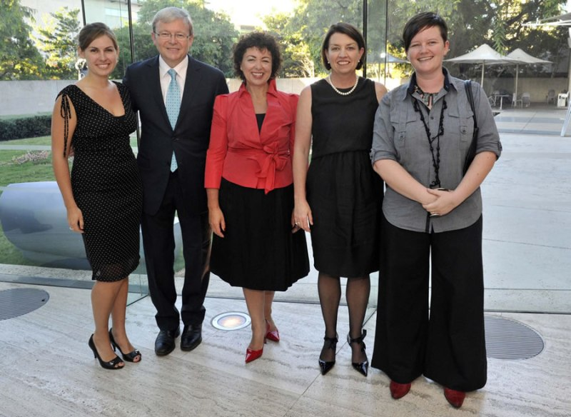 YPAA Team with Kevin Rudd, wife Therese & QLD Premier Anna Bligh (at the time) 2009. Image provided.