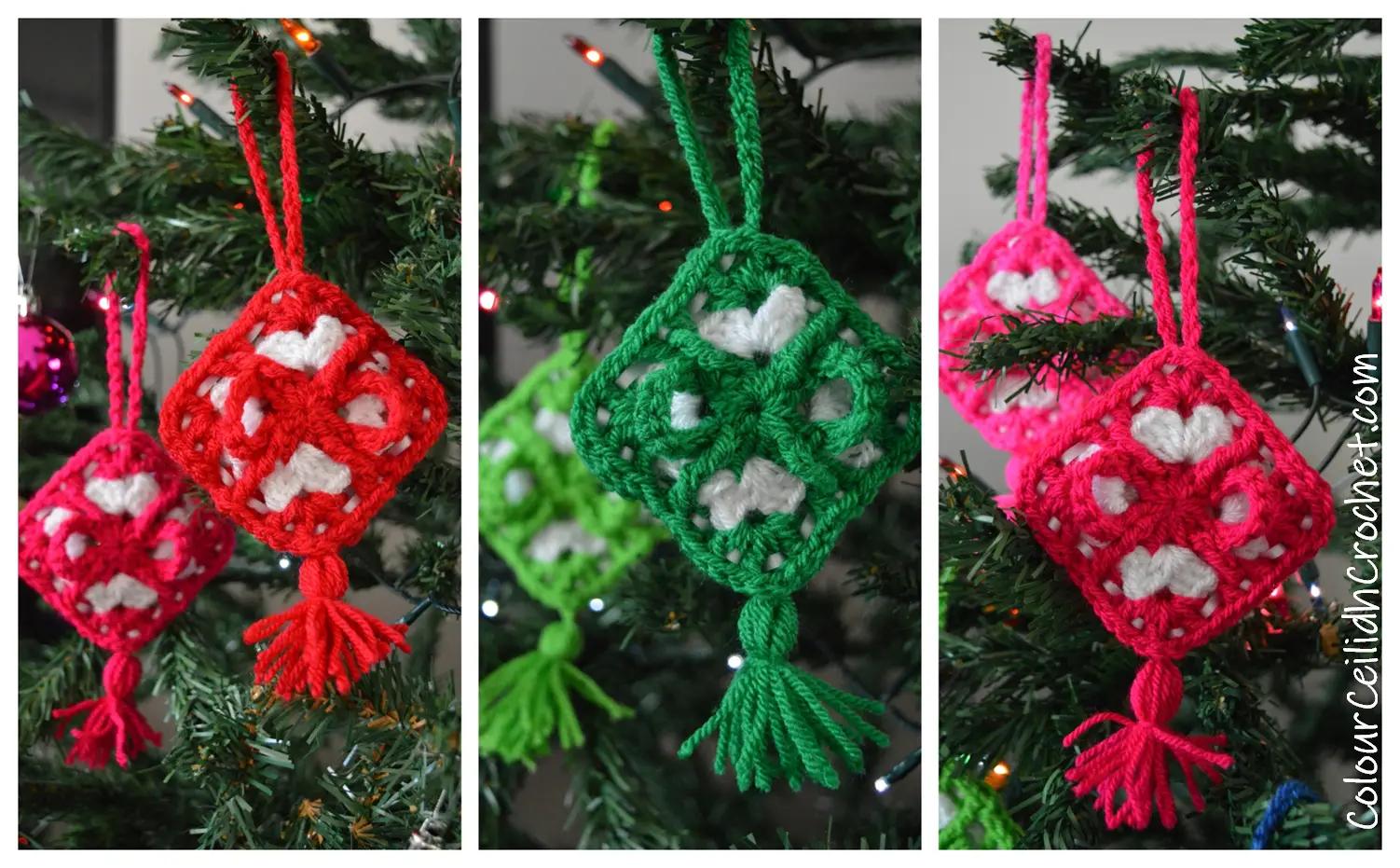 Granny Square Christmas Decorations - Free Crochet Pattern